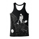 Fashion Astronaut 3D Printed Sleeveless Scoop Neck Tank