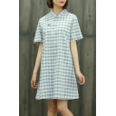 Vintage Stand Up Collar Short Sleeve Classic Plaids Printed A-Line Midi Dress