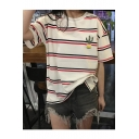 Loose Striped Color Block Short Sleeve Round Neck Casual Tee