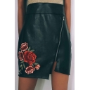 High Rise Zip Side Floral Embroidered Split Side Bodycon Mini Skirt