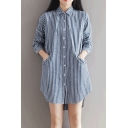 Women's Single Breasted Lapel Long Sleeve High Low High Striped Shirt Dress with Pockets