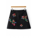 Embroidery Floral Pattern Zip Back Mini A-Line Skirt