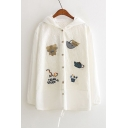 New Fashion Cartoon Patchwork Long Sleeve Hooded Buttons Down Cotton Coat