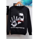 New Stylish Clown Letter Pattern Round Neck Long Sleeve Unisex Sweatshirt