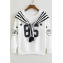 New Stylish Pentacle Letter Printed Long Sleeve Round Neck Pullover Sweatshirt with Embellished Cape