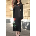 New Arrival Rose Pattern Round Neck Long Sleeve Oversize Maxi Bodycon Dress