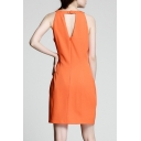 Round Neck Sleeveless Zip Back Plain Slit Side Mini A-Line Dress