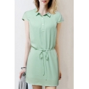 Lapel Collar Cap Sleeve Tie Waist Plain Mini Chiffon Buttons Down Dress