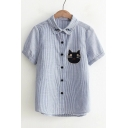 Women's Striped Embroidery Cat Pattern Single Breasted Short Sleeve Lapel Shirt