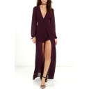 New Arrival Plunge Neck Long Sleeve Sexy Chiffon Plain Rompers