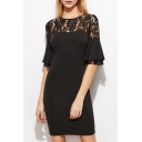 Round Neck Half Sleeve Chic Lace Inserted Plain Midi Pencil Dress