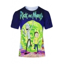 Cartoon Rick And Morty Color Block Printed Short Sleeve Round Neck Tee