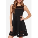 Sheer Mesh Patchwork Sleeveless Round Neck Plain Mini A-Line Dress