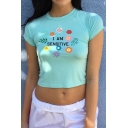Women's I AM SENSITIVE Floral Printed Short Sleeve Round Neck Cropped Tee