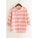 Striped Printed 3/4 Sleeve Leisure Casual Buttons Down Shirt