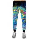 Hot Fashion Colorful Cartoon Cat Printed Drawstring Waist Oversize Sports Pants
