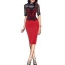 Glamorous Women's Lace Patchwork Half Sleeve Midi Pencil Dress