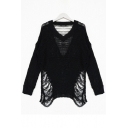 New Fashion Stylish Cut Out V Neck Long Sleeve Plain Pullover Sweater