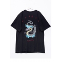 Dragon Letter Printed Round Neck Short Sleeve BF Style Loose Tunic T-Shirt
