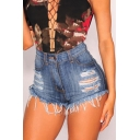 Women's Summer Ripped Cutout Fringe Hem High Waist Plain Denim Shorts