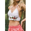 Fashion Halter Embroidery Floral Pattern Sleeveless Open Back Cropped Knitted Cami Tank