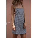 Chic Spaghetti Straps Open Back Classic Plaids Printed Mini Slip Dress