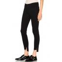 New Arrival Slit High Low Hem Cuff Skinny Fashion Plain Jeans