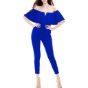 Sexy Off the Shoulder Ruffle Front Short Sleeve Plain Ankle Jumpsuits