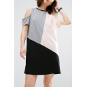 Chic Color Block Round Neck Cold Shoulder Short Sleeve Leisure Mini T-Shirt Dress