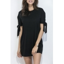 Chic Bow Cuff Round Neck Short Sleeve Plain Mini T-Shirt Dress