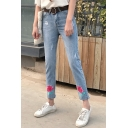 Retro Floral Rose Embroidered Ripped Summer's Skinny Capris Jeans
