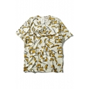 Bananas Printed Round Neck Short Sleeve Loose Pullover T-Shirt