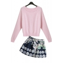 Round Neck Long Sleeve Plain Sweater with Mini A-Line Floral Printed Skirt