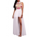 Fashion Sleeveless Embroidery Floral Pattern Chiffon Patchwork Rompers