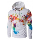 Drawstring Hooded Color Block Printed Long Sleeve Hoodie Sweatshirt