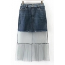 Fashion Mesh Patchwork Plain Maxi Denim Skirt