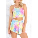 Sexy Halter Sleeveless Tied Back Color Block Co-Ords