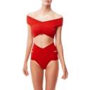 Women's Off the Shoulder Crisscross Cutout High Waist Plain Bikinis