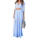 Summer's Plunge Neck Half Sleeve V Open Back Cropped Top with Maxi Skirt