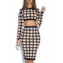 Women's Fashion Long Sleeve Cropped Top with Pencil Skirt Plaid Color Block Co-Ords