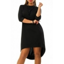 Women's Oversize High Low Hem 3/4 Length Sleeve Plain Swing Asymmetric Dress