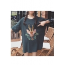 Floral Cartoon Deer Printed Round Neck Short Sleeve Loose Tunic T-Shirt