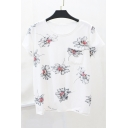 New Arrival Floral Printed Loose Casual Round Neck Short Sleeve T-Shirt
