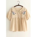 Women's Loose Embroidery Pattern Short Sleeve Round Neck Blouse