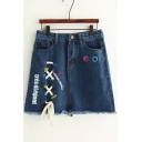 New Arrival Lace-Up Letter Printed Fringe Hem Mini A-Line Denim Skirt