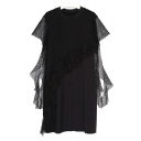 Round Neck Plain Sheer Mesh Patched Ruffle Hem Buttons Down Midi Shift Dress