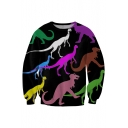 Hot Fashion 3D Dinosaur Pattern Round Neck Long Sleeve Pullover Sweatshirt