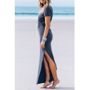 Casual Split Side Drawstring Waist V-Neck Short Sleeve Plain Maxi T-Shirt Dress