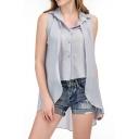 New Stylish High Low Hem Single Breasted Lapel Sleeveless Plain Shirt