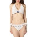 New Arrival Hand Knitting Halter Neck Tassel Hem String Bottom Bikini Swimwear